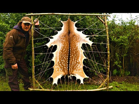 HOW I TAN ANIMAL HIDES (the easy way) for Bushcraft / Survival / Camping trips. Caveman Carpet!