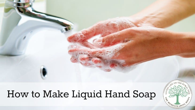 Making liquid soap for body wash, hand washing or even shampoo is simple and easy to do with only a few ingredients~The HomesteadingHippy #homesteadhippy #fromthefarm #diy #essentialoils