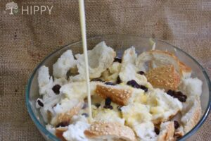 adding the milk cream and sugar mix