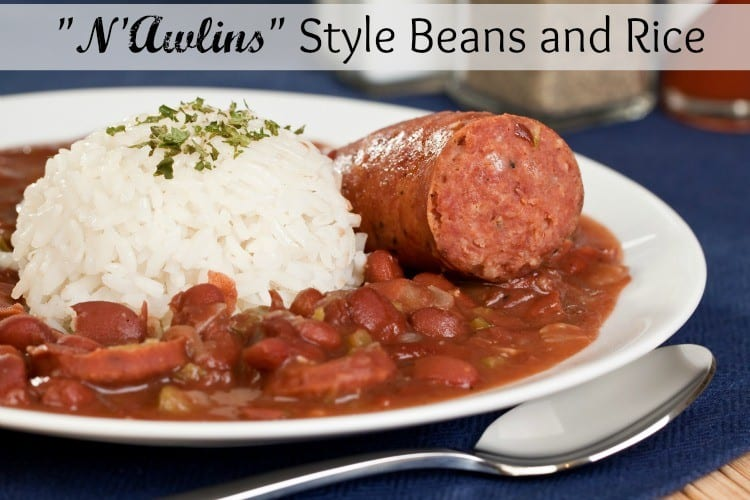 Warm up when it's cold outside with this hearty, filling, delicious beans and rice New Orleans Style! The Homesteading Hippy #beans #rice #stew #recipes #homesteadhippy
