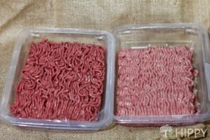 Ground beef on the left and ground pork on the right