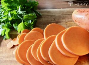 slice sweet potato and chop parsley