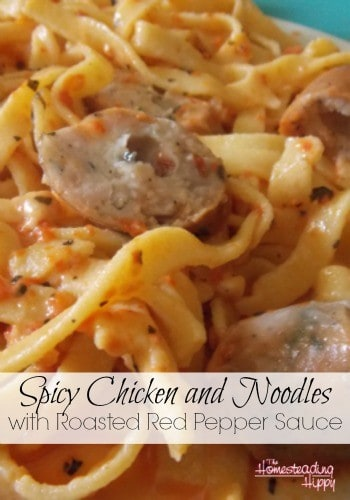 Spicy roasted red peppers, chicken and sausage over homemade noodles make this a winning combination! The Homesteading Hippy #homesteadhippy #fromthefarm #recipes
