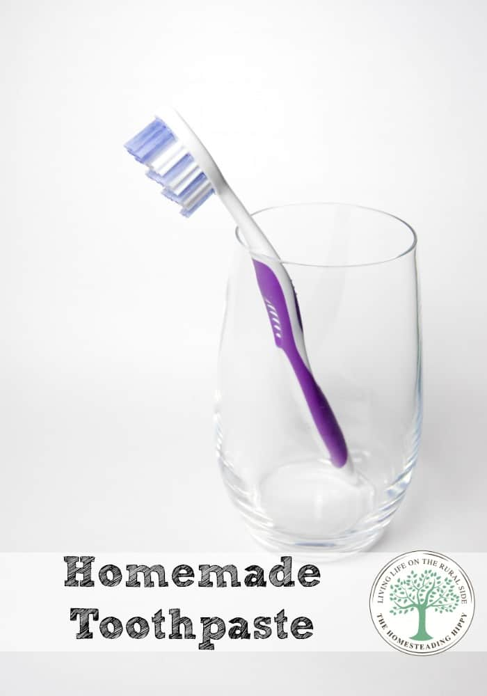 Skip the questionable ingredients, plastic trash and expense of commercial toothpaste and make your own! The Homesteading Hippy #homesteadhippy #fromthefarm #diy #essentialoils