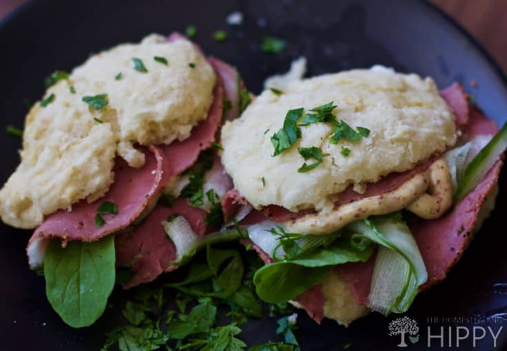 Buttermilk biscuits with beef prosciutto