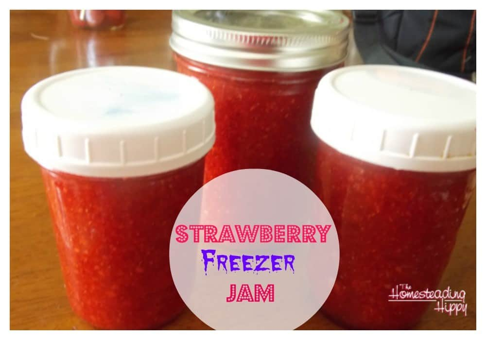 how-to-make-strawberry-freezer-jam @The HomesteadingHippy