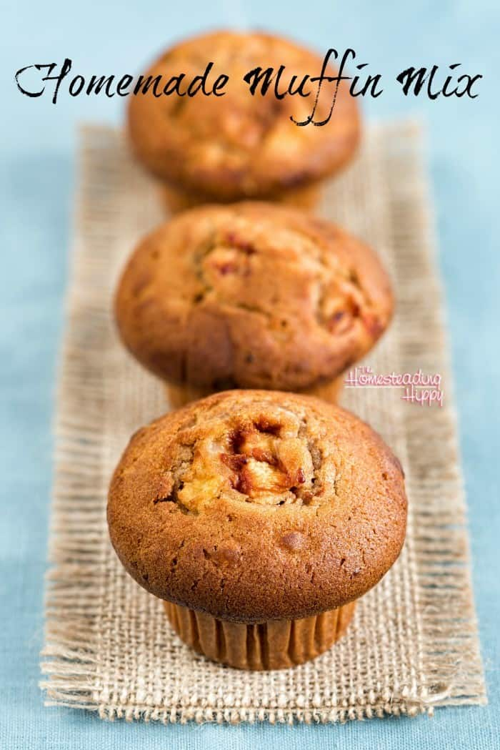 Homemade muffins any time of day or night, with this muffin mix! Add in your creativity to get different flavors each time! The Homesteading Hippy #homesteadhippy #fromthefarm #recipes