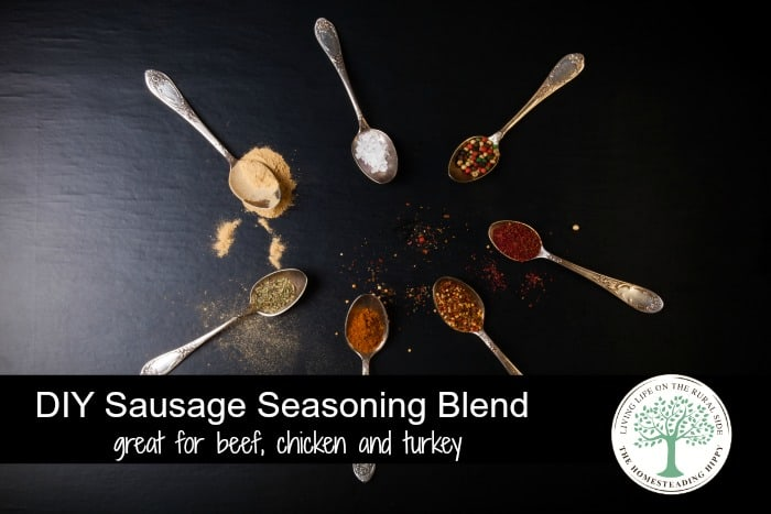 Make your own seasoning blend for sausage like flavor in beef, chicken and turkey! The Homesteading Hippy #homesteadhippy