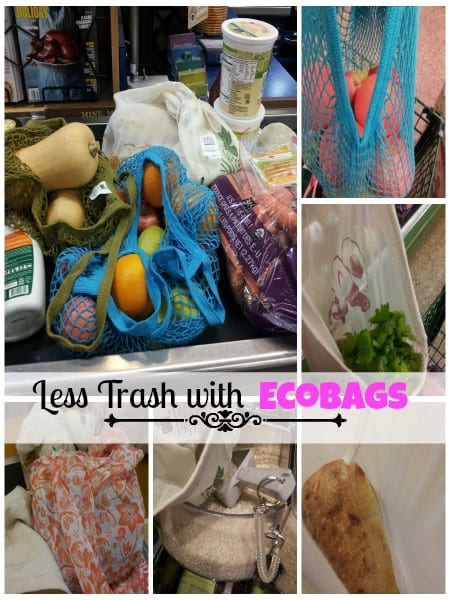reusable shopping bags, less trash, trash free