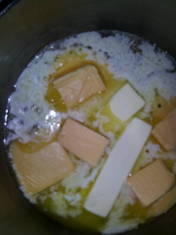 melting-butter-and-cheese-for-velveeta-cheese-fudge