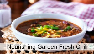 Hearty and warming, this nourishing garden fresh chili will hit the spot on those chilly days! The Homesteading Hippy