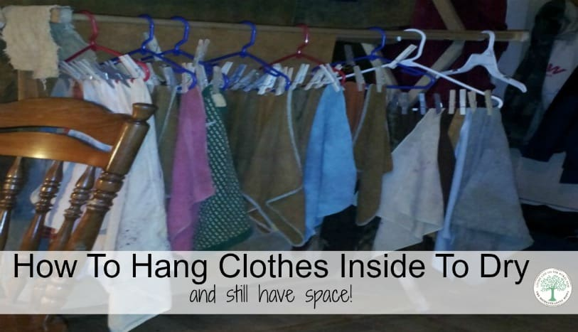 How to hang up your clothes on a drying rack inside and still have space to move! The Homesteading Hippy
