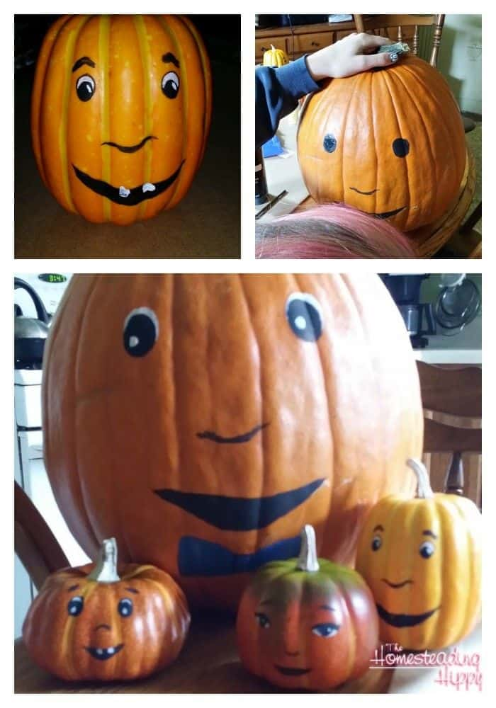 smiley faces on pumpkins