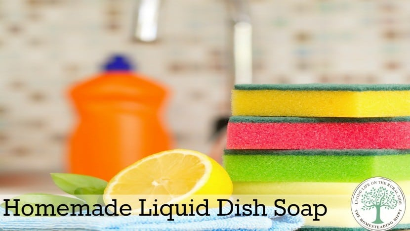 Using commercial dishsoap has some questionable ingredients and daily dishwashing can dry your hands out.  Use this homemade version to get clean dishes and soft hands ~The Homesteading Hippy #homesteadinghippy #fromthefarm #lesstrash #diy #natural #dishsoap #essentialoils