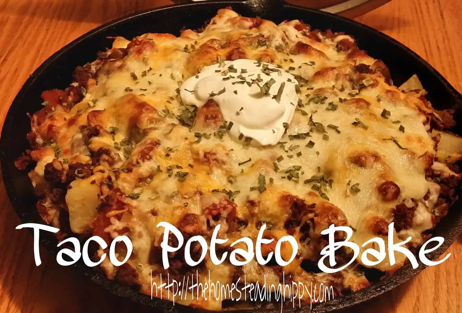 Warm up inside when it's cold outside with this delicous Taco Potato Bake~The Homesteading Hippy #homesteadinghippy #fromthefarm #recipes