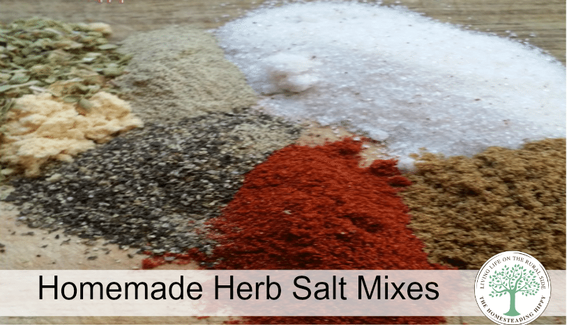 Homemade herb salt mixes for all your delicious cooking needs! The Homesteading Hippy #homesteadhippy