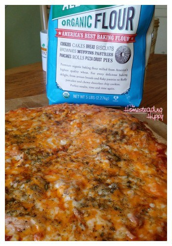 Make a delicious homemade pizza in less time than it takes for delivery! The Homesteading Hippy #homesteadhippy #fromthefarm #recipes