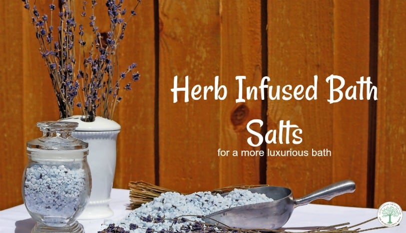 Herb infused bath salts makes for a more luxurious bath. The different herbs you can use are countless, too. Think relaxing, soothing, anti-inflammatory, or even energizing.