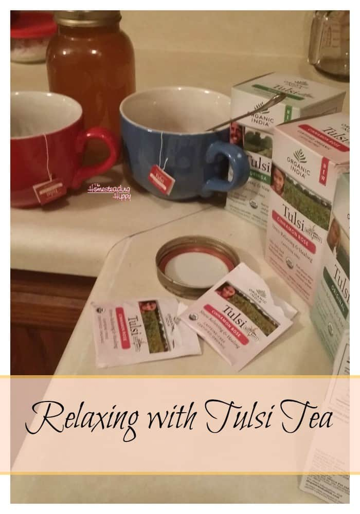 Relaxing after a long day on the homestead is so much easier with Tulsi Organic Teas~the Homesteading Hippy #homesteadhippy #fromthefarm #tea