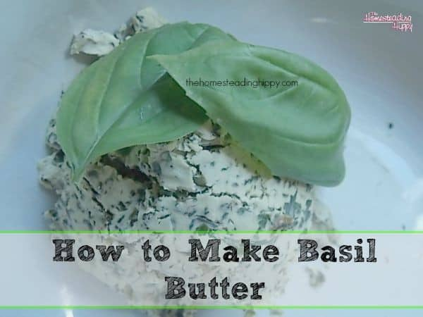 Making basil butter has so many delicious uses, over pasta, on bread or even as a steak topping~The Homesteading Hippy #homesteadhippy #fromthefarm #preservingtheharvest #recipes