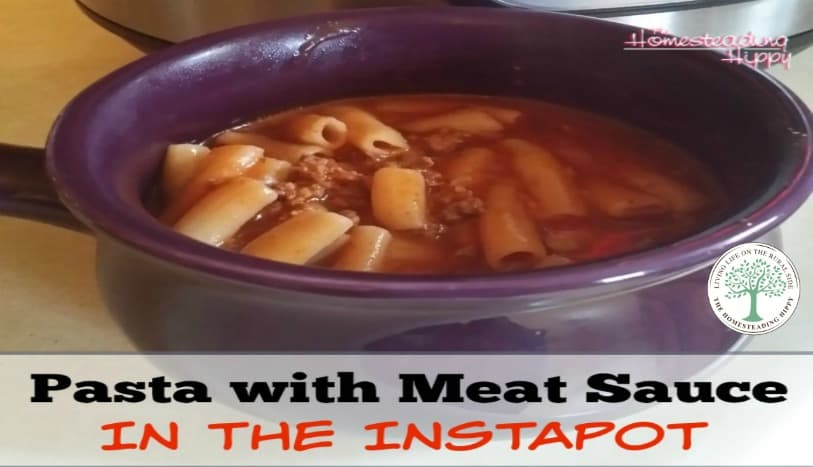 The Instapot has been a life changer!  Make pasta with meat sauce in 6 minutes without standing over a hot stove! The Homesteading Hippy