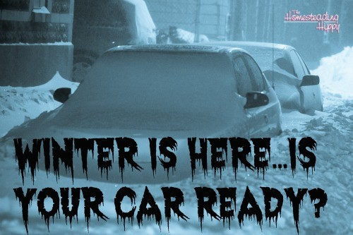 Winter is here...is your vehicle ready for emergencies?  Here are some more items you should keep in your vehicle to be ready for anything! The Homesteading Hippy #homesteadhippy #fromthefarm #prepared #winter