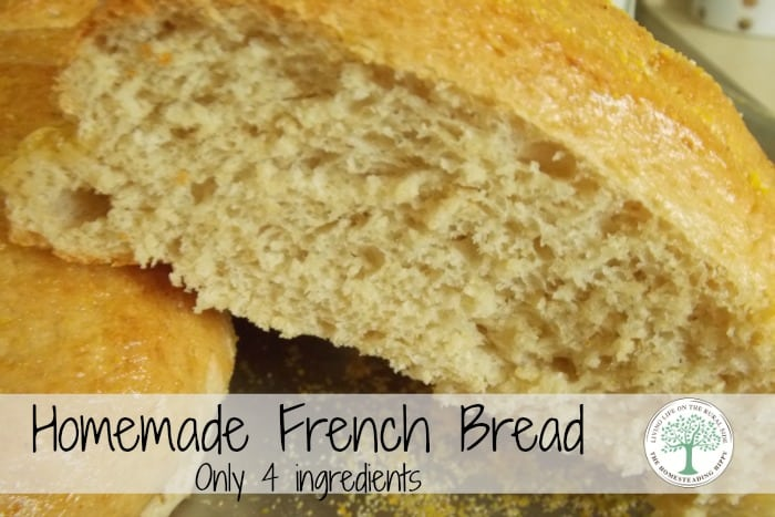 Make delicious french bread with only 4 ingredients. The Homesteading Hippy #homesteadhippy #recipe #bread