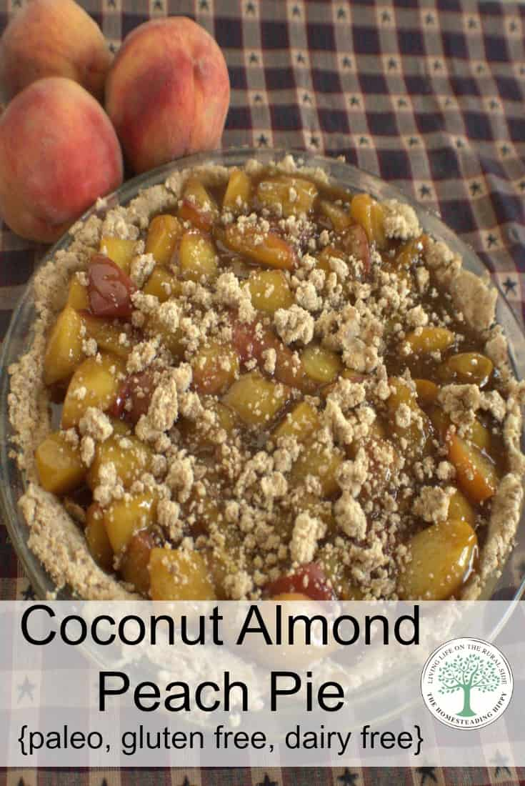 Coconut Almond Peach Pie. Enough said, right? How about the fact that it's paleo, gluten, and dairy free? You gotta try this! The Homesteading Hippy