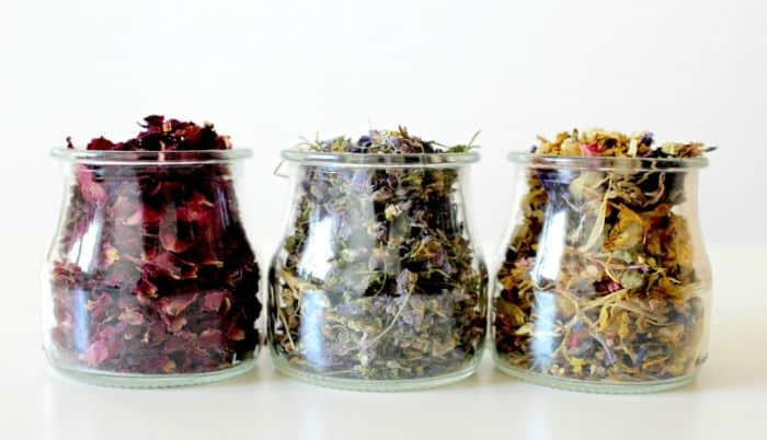 dried herbs in baby food jars