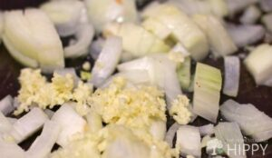 onion and garlic ready to sautee
