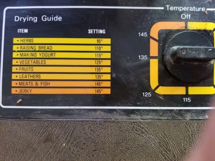 dehydrator settings