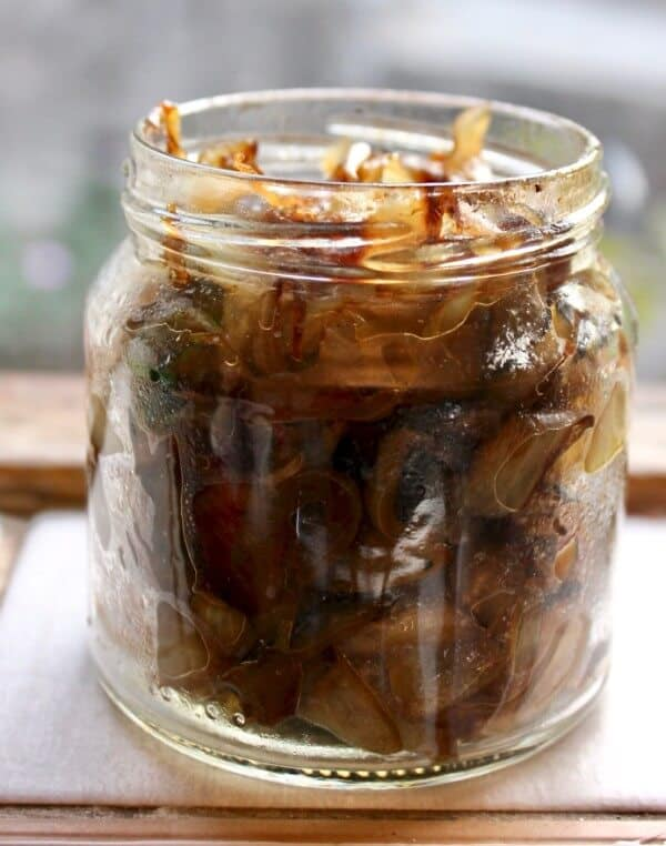 Jar of caramelized onions