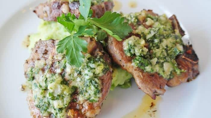 lamb cutlet pesto