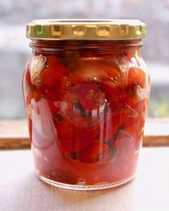 roasted bell peppers in jar