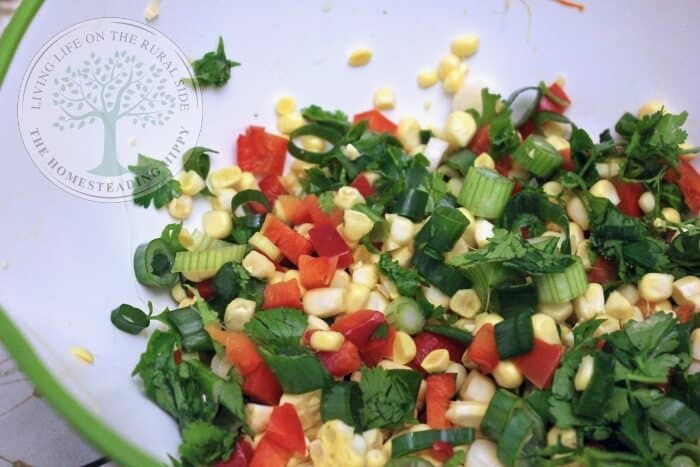 corn, red pepper, cilantro and spring onions