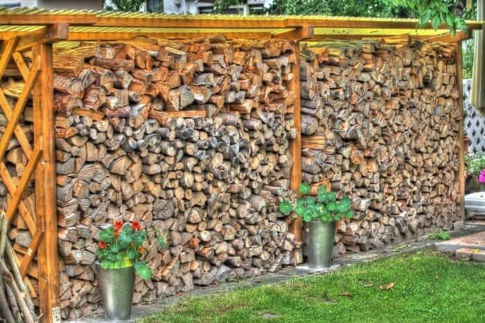 covered woodpile