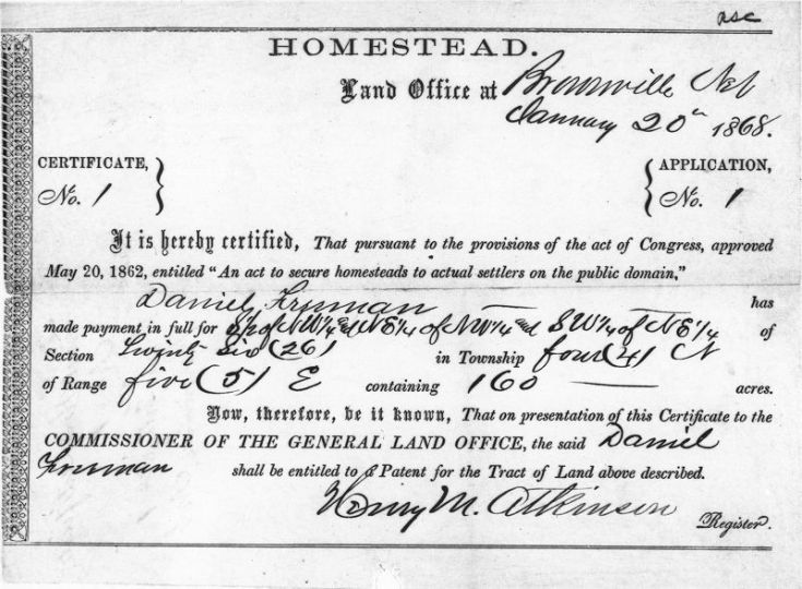 first homestead certificate