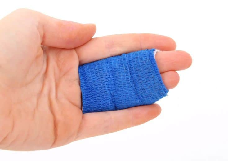 bandaged hand wound