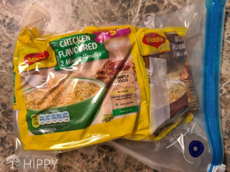 chicken flavored ramen noodles vacuum sealed in zipper bag