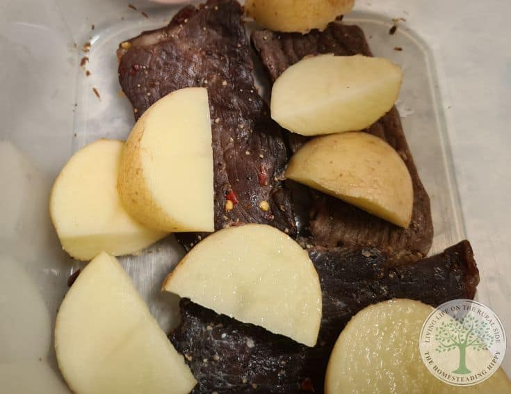jerky and raw potatoes in container