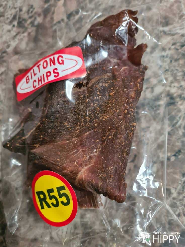 vacuum sealed South African biltong chips