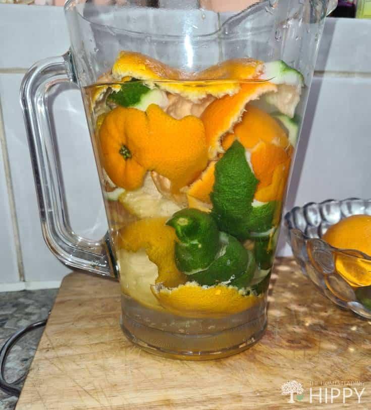citrus peels in jar