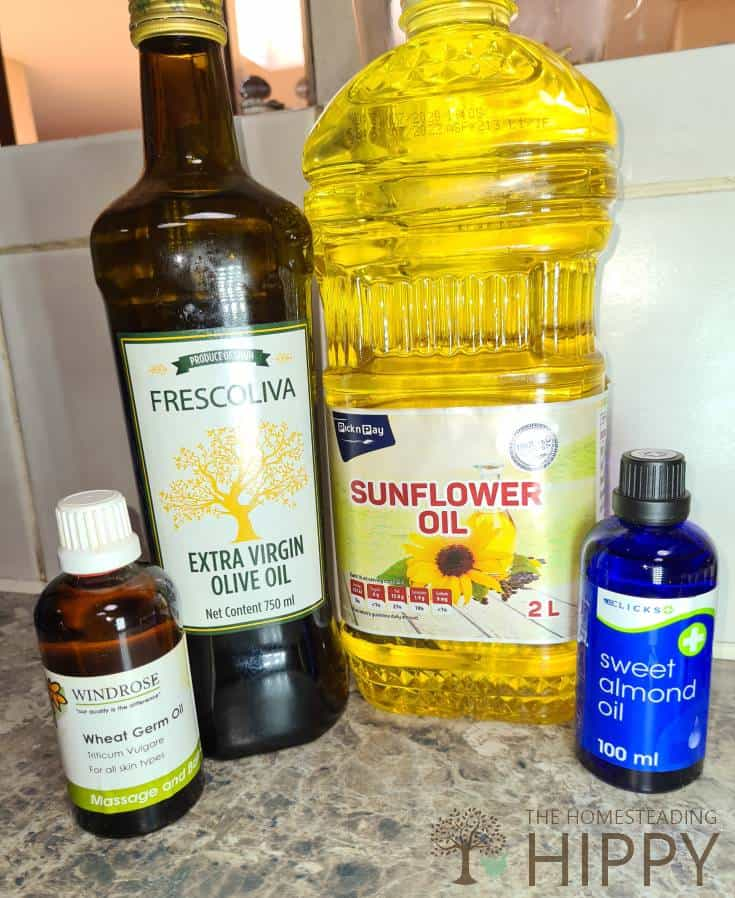 olive oil lavender oil sunflower oil and wheat germ oil