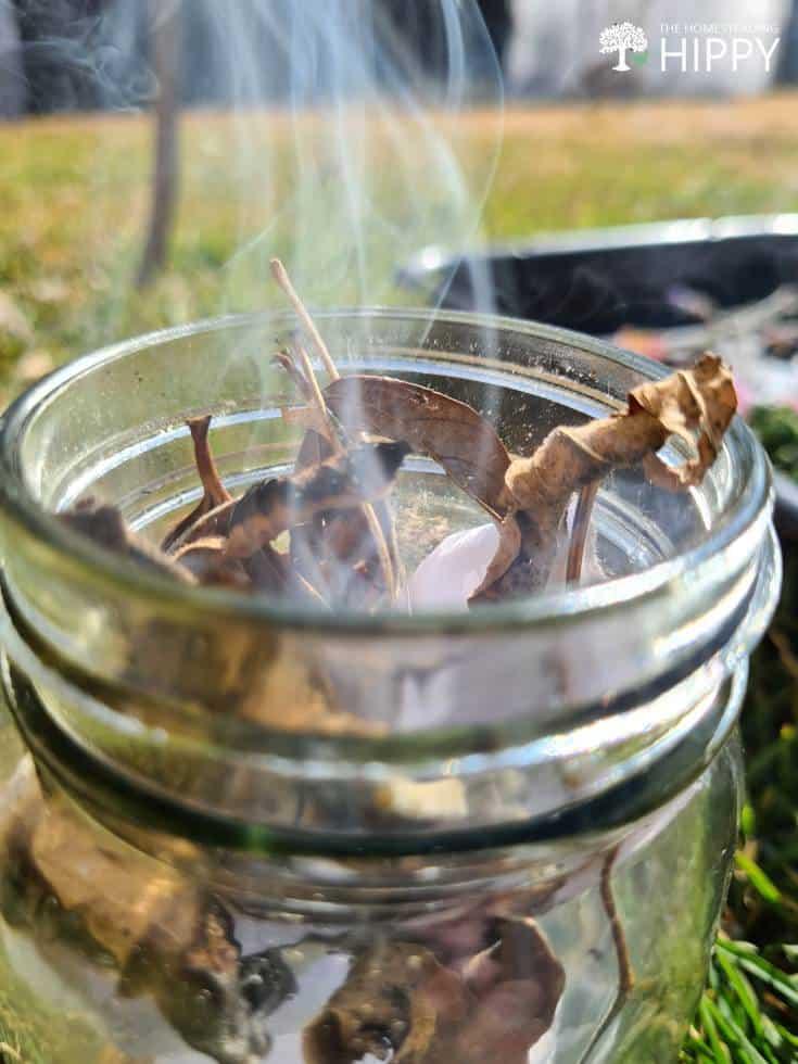 dry plant material burning inside mason jar