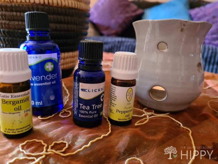 essential oils and burner