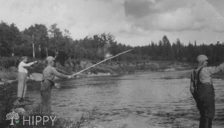 old photo of men fishing
