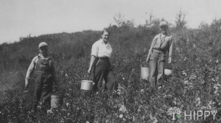 old photo of people foraging